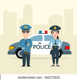 police man and police woman. police car.police officers in uniform