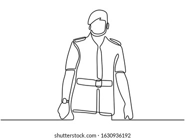 Police mayor one line drawing. Portrait of person with uniform.