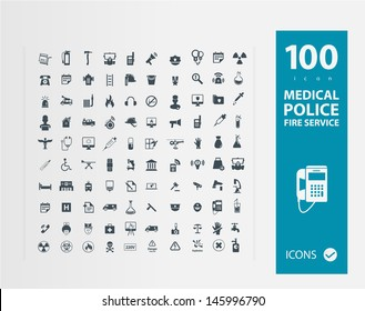 Police , Medical , Fire services icon set