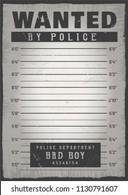 Police mugshot. Add a photo. Vector illustration