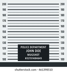 Police mugshot. Police lineup on white background. Vector illustration