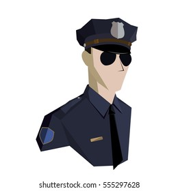 Police In New York. Icon. Vector.Cop. The shirt is blue. Points. Token.