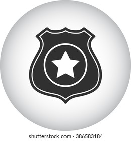 Police office badge simple icon on round  background