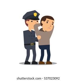 Police officer arresting criminal