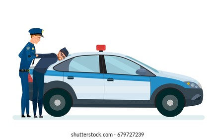 Police officer arrests a thief, a criminal, on the hood of a working, police car. A thief in an attempt to steal money. Detention of a robber. Vector illustration isolated in cartoon style.