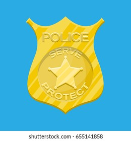 Police officer badge. Gold shiny emblem. Vector illustration in flat style