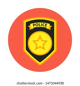 Police officer badge icon. Vector Illustration.