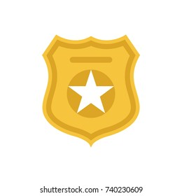 Police officer badge symbol. Icon of law order protection. Golden badge with star. Vector Illustration