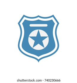 Police officer badge symbol. Icon of law order protection. Blue badge with star. Vector Illustration