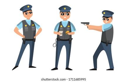 銃、ハンバーガー、コーヒーを持つさまざまなポーズで立つ黒いサングラスをかけた警官。フラットスタイルのベクターイラスト