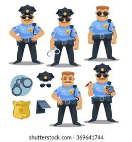 police officer in blue uniform. cartoon illustration