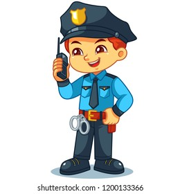 Police Officer Boy Checking Information With Walky Talky.