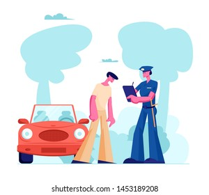 Police Officer Character in Uniform Write Fine on Road to Intruder. Law Protection, Car Traffic Inspector, Safety Control, High Speed Traffic Violation, Policeman Work Cartoon Flat Vector Illustration