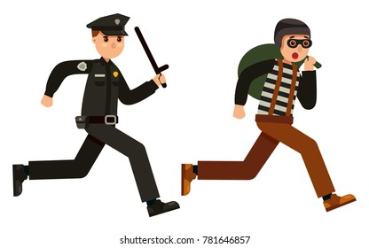 police officer chasing a thief flat style character vector illustration