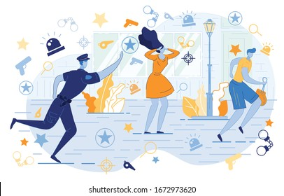Police Officer Chasing Thief with Stolen Gitrl Bag Flat Cartoon Vector Illustration. Bodyguard Running to Catch Burglar. Policemen on Mission. Security Service Guard Worker. Woman in Panic.