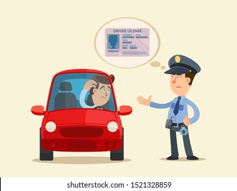 Police officer checking driver license. Policeman requires a driver's license. Car driver confused. Vector illustration, flat cartoon style. Isolated background.