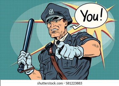 Police officer COP with a baton. Vintage pop art retro comic book vector illustration