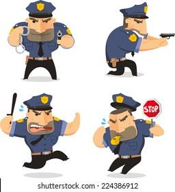 Police Officer Cop Set vector illustration