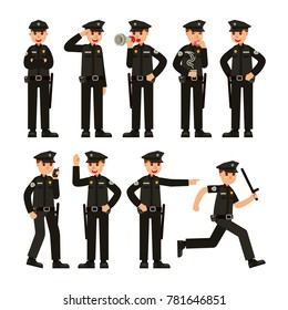 police officer in different situation pose modern flat style vector illustration set