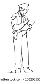 Police officer with digital tablet against white background. Continuous line drawing. Vector monochrome, drawing by lines.