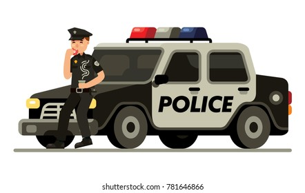 police officer with donut and coffee in front of car modern flat style vector illustration