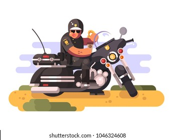 Police officer with donut and coffee on motorcycle. Policeman biker eating, moto patrol, vector illustration