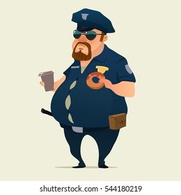 police officer with donuts and coffee, fat policeman, cartoon character, vector illustration isolated on background