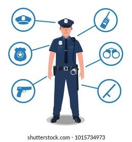 Police officer with police equipment. Radio, baton, badge, gun, handcuffs, hat