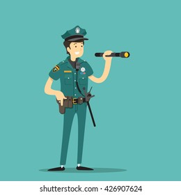 Police officer with flashlight. Vector illustration.
