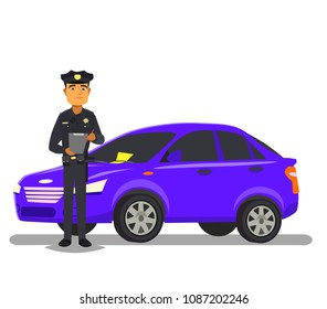 Police officer giving a ticket fine for parking violation.Vector illustration in flat style.