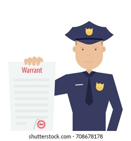 police officer holding arrest warrant. Vector illustration isolated on white background