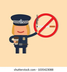 Police officer holding a no smoking sign and a coffee, vector illustration design. Police collection.