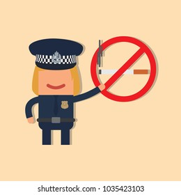 Police officer holding a no smoking sign, vector illustration design. Police collection.