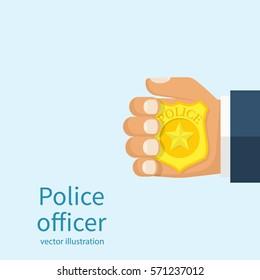 Police officer holds badge in hand. Cop introduced. Vector illustration flat design.