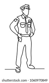 Police officer isolated on a white background. Continuous line drawing. Vector monochrome, drawing by lines