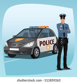 Police officer, man of police force, standing full face in uniform of policeman, with typical outfit for law enforcement agency. In the background a patrol car. Vector illustration
