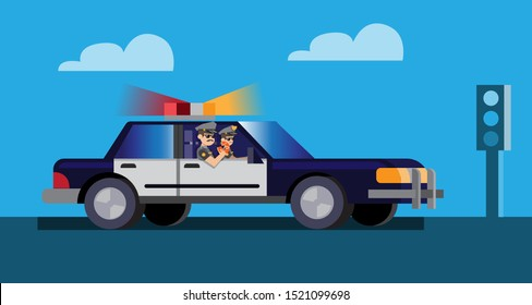 police officer patrol with car and eating donut flat design