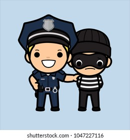 Police officer, policeman or Cop  chasing a thief ,Vector illustration in a flat style , Cute cartoon