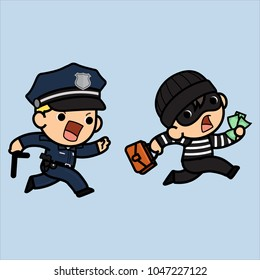 Police officer, policeman or Cop  running try to chasing a thief ,Vector illustration in a flat style , Cute cartoon.