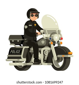 police officer riding motorcycle in flat style vector illustration