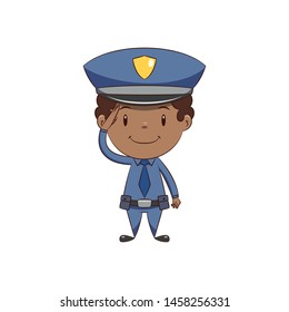 Police officer salute hand gesture, happy cute child