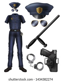 Police officer or security service guard uniform, weapon, accessories cartoon vector set. Policeman costume, peaked cap, sunglasses, handgun in holster, handcuffs, rubber baton isolated illustrations