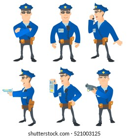 Police officer set. Cartoon illustration of 6 police officer vector concepts isolated on white background