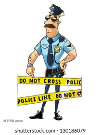 police officer shows on police line do not cross. Cop on the job. Vector illustration isolated on white background.