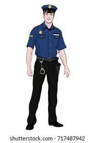 Police officer standing front side, vector cartoon portrait male cop full-length, multicolor painted human in a police uniform with arms and handcuffs, isolated on white background