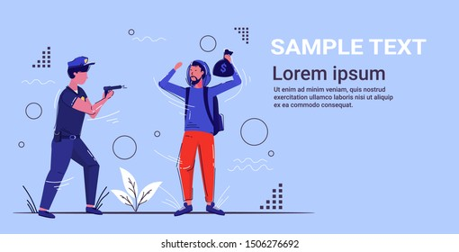police officer standing with pistol arretsing criminal robber policeman in uniform pointing gun at thief with money bag security service concept sketch full length horizontal copy space