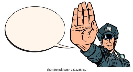 police officer stop gesture. isolate on white background. Pop art retro vector illustration kitsch vintage