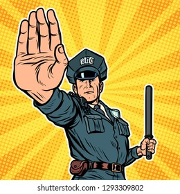 police officer stop gesture. Pop art retro vector illustration kitsch vintage