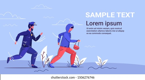 police officer trying to catch thief policeman in uniform pursuing burglar with woman's bag security service concept robber running away from patrolman full length horizontal copy space