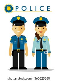Police officer in uniform. Policeman and policewoman standing on white background in flat style